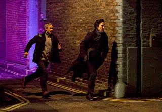 Benedict Cumberbatch as Sherlock Holmes and Martin Freeman as John Watson in A Study in Pink BBC Sherlock