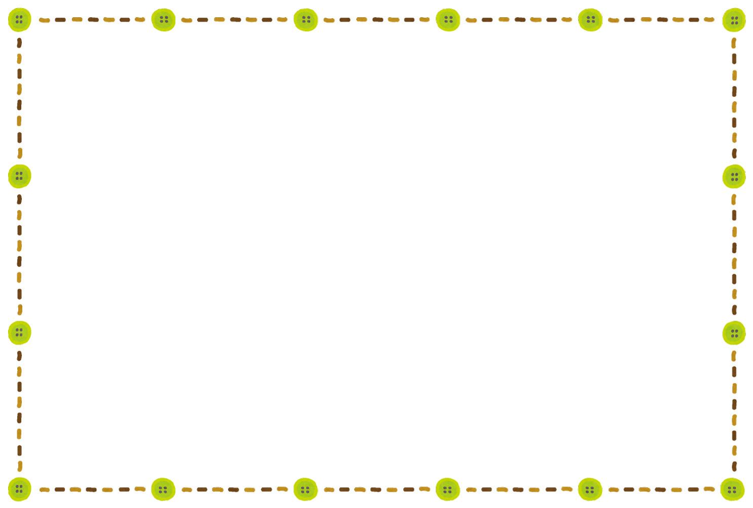 ボタンと刺しゅうのイラストフレーム(枠) | かわいいフリー素材集