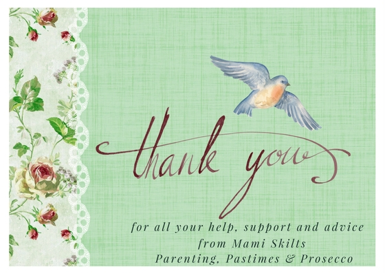 Thank you greeting - Parenting, Pastimes, Prosecco - Mamiskilts.co.uk