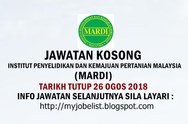 Jawatan Kosong Institut Penyelidikan dan Kemajuan Pertanian Malaysia (MARDI) Ogos 2018