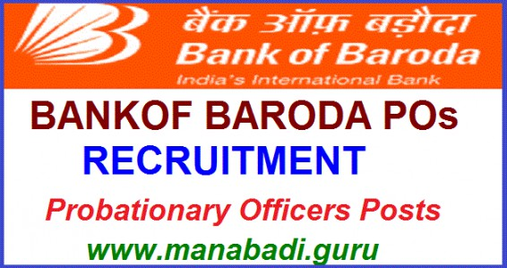 Bank jobs,BankPOs jobs,Bank of Baroda POs Recuitment