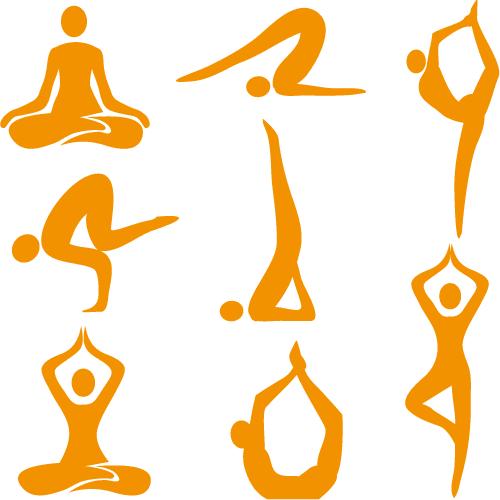 Iconos con poses de Yoga - Vector