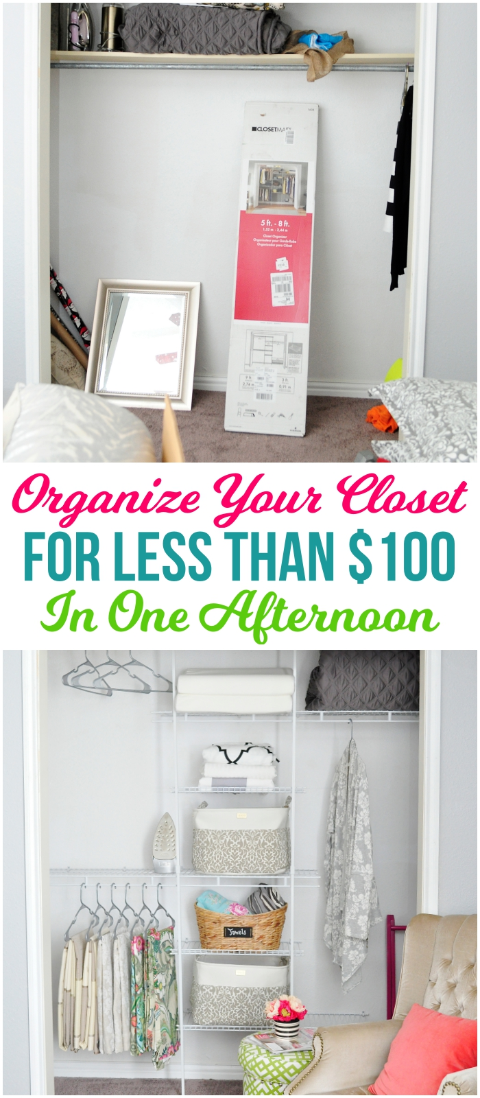 Organize and transform any closet for under $100 in an afternoon. Perfect for a bedroom, guest room, craft room or office space.