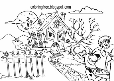 Banshee land lost parish home haunted ghost town graveyard Shaggy with Scooby coloring page for kids