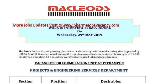 Pharmajobs: Macleods Pharma Walk in Interview-Project