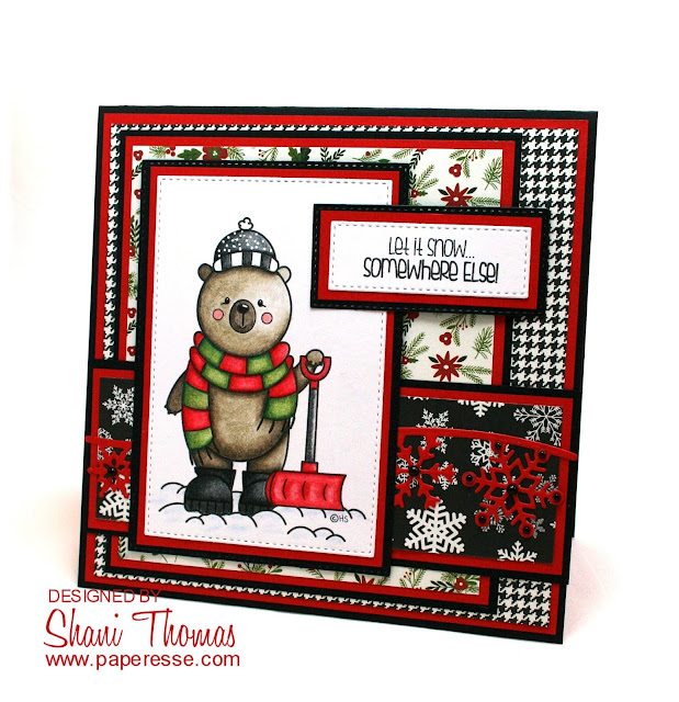 Christmas card featuring 2 Cute Ink Snow Time Bear digital stamp, by Paperesse.