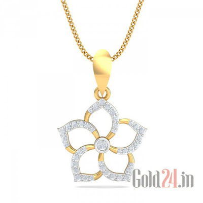 KuberBox Gold Pendant with Diamonds