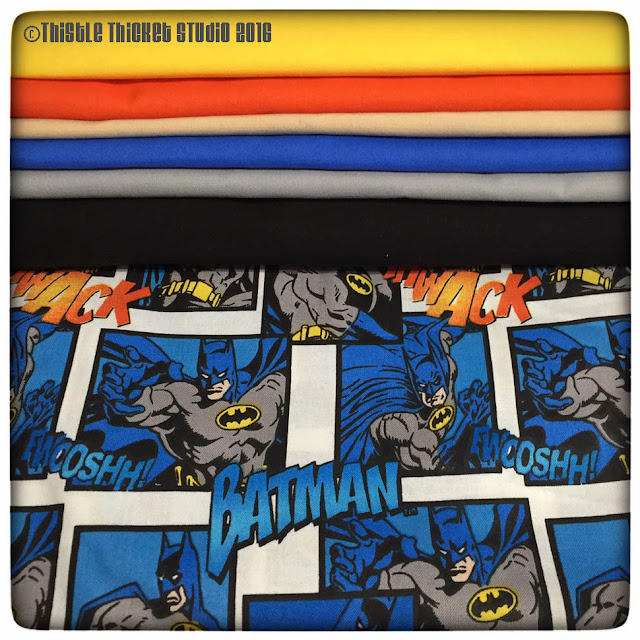 Fabric Pull For Batman Quilt by Thistle Thicket Studio. www.thistlethicketstudio.com