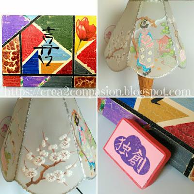 Collage-trabajos-orientales-hechos-a-mano-lámpara-pergamano-cuadro-multitécnicas-y-sello-carvado-con-caracter-chino-por-Crea2conPasión.