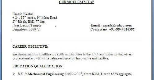Objective For Resume For Freshers It Engineers Michaelmunevar Com