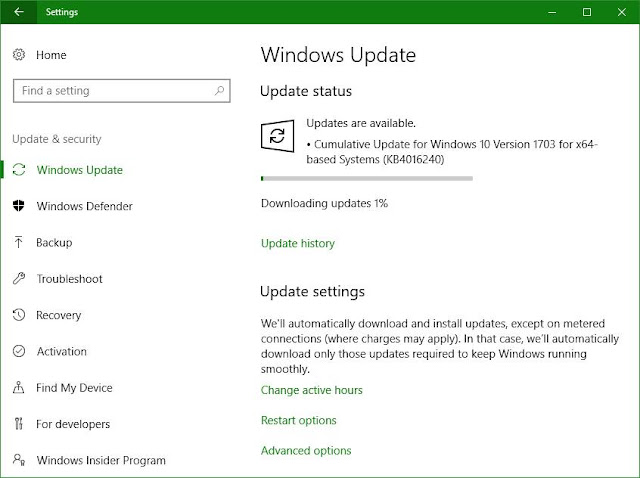 Cumulative Update KB4016240 for Windows 10 Version 1703 build 15063.250