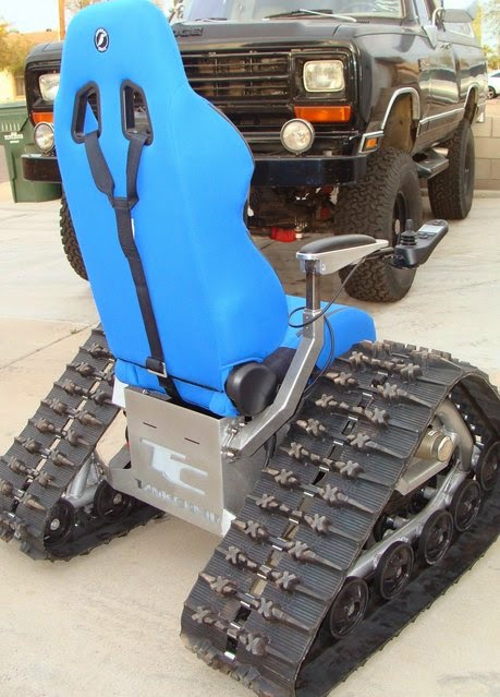 tank chair wheelchair step 2 desk and all about machines is a custom off road that can go anywhere outdoors conquers streams mud snow sand gravel allowing you to get back