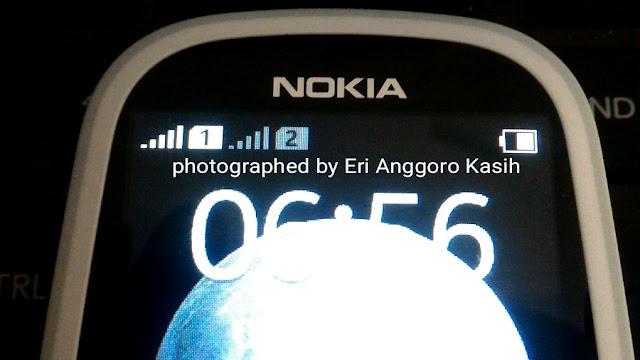 Baterai Nokia 3310 setelah pemakaian normal selama 6 hari.