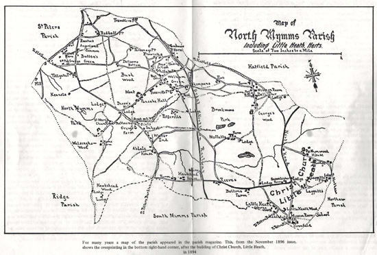 Image of a map of the Parish of North Mymms 1894