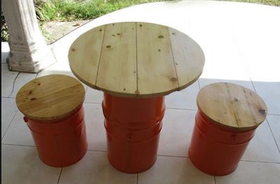 kursi cafe dari tong cat