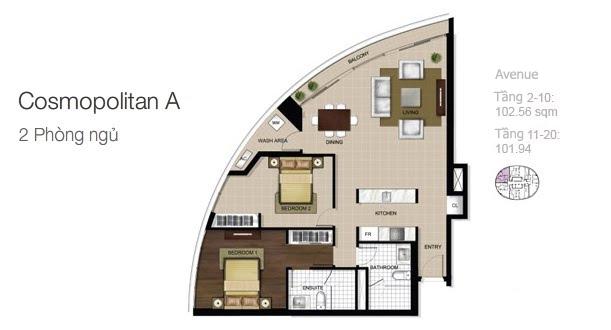 Mặt bằng căn hộ City Garden: Cosmopolitan A 2 phòng ngủ