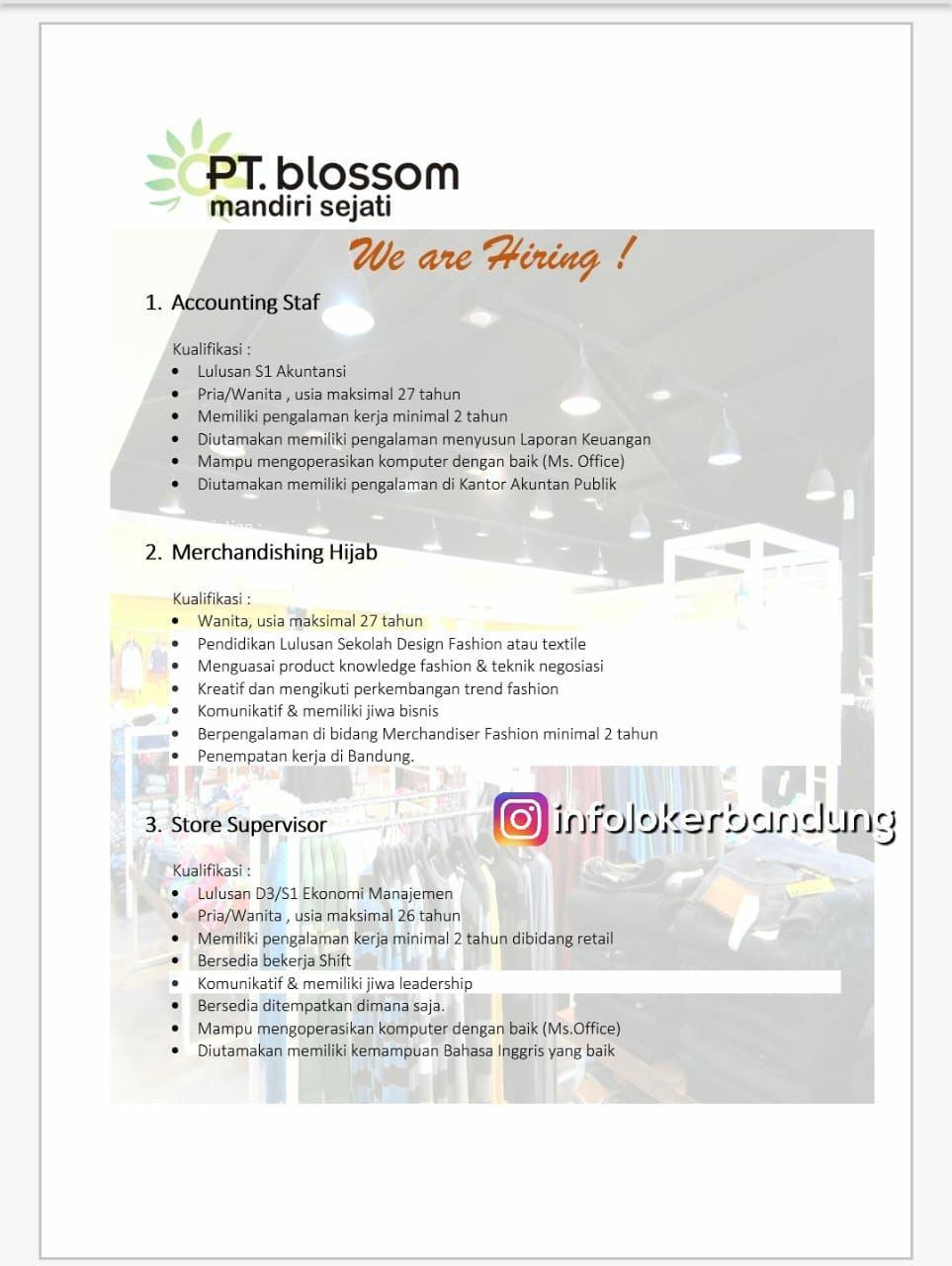 Lowongan Kerja PT. Blossom Mandiri Sejati Bandung Juli 2018