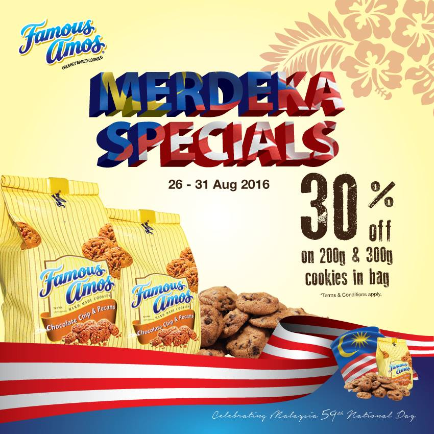 Famous Amos 30% OFF on 200g & 300g Cookies in Bag 26 - 31 August 2016