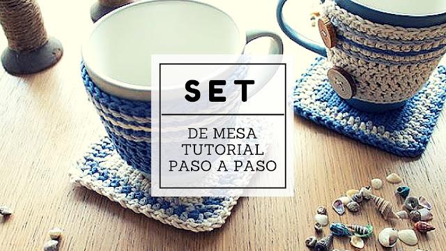 Tutorial #67 Paso a Paso Set de Sujeta Taza a Crochet