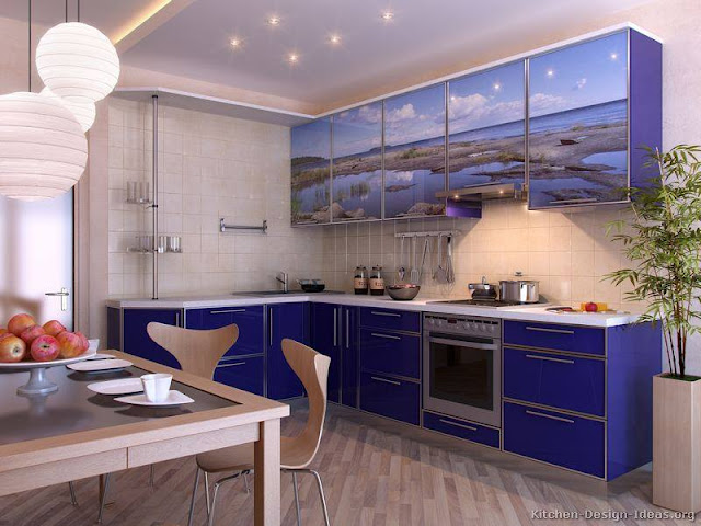 Fabulous Modern Blue Kitchen Cabinets Decorating Ideas