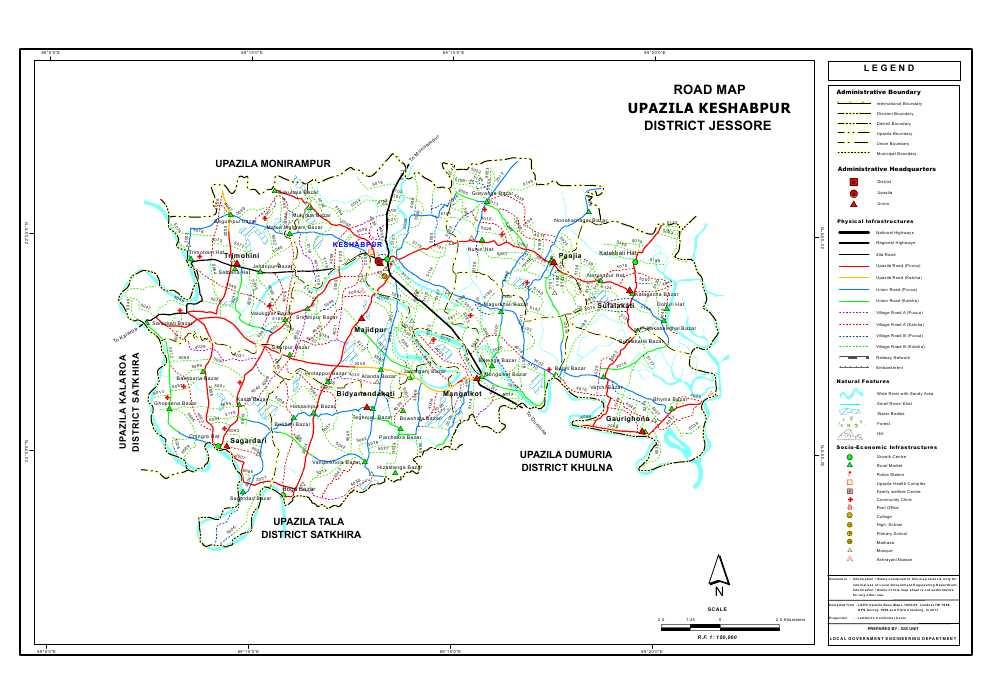 Keshabpur Upazila Road Map Jessore District Bangladesh