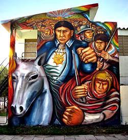 Dibujo de José Gabriel Condorcanqui en la pared de una casa