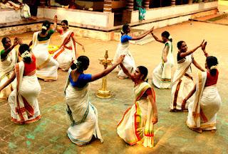 Thiruvathira kali is a traditional group dance of Kerala played by women on Thiruvathira festival