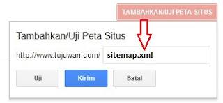 Mengirimkan peta situs di google webmaster tools