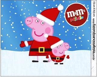 Etiqueta M&M de Peppa Pig en Navidad para imprimir gratis.