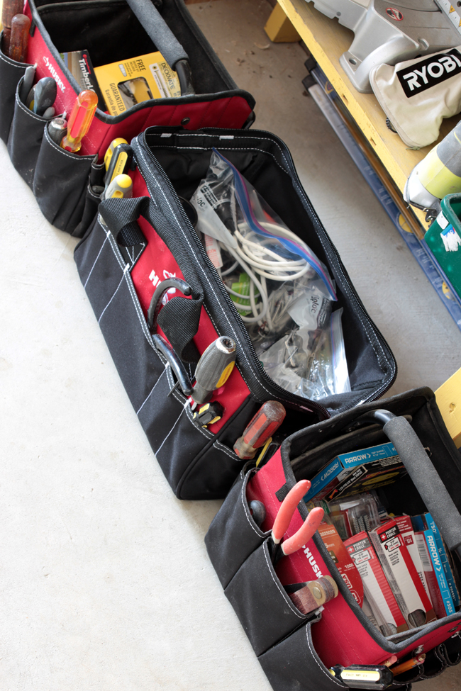 Husky tool bags to organize electrical and nail supplies