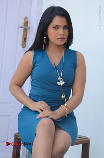 Telugu Actress Kulakarni Mamatha Stills in Blue Short Dress at Idea movie Creations Launch  0134.JPG