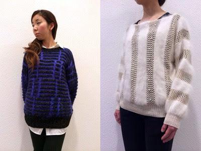 モヘアと生成りの組み合わせセーター