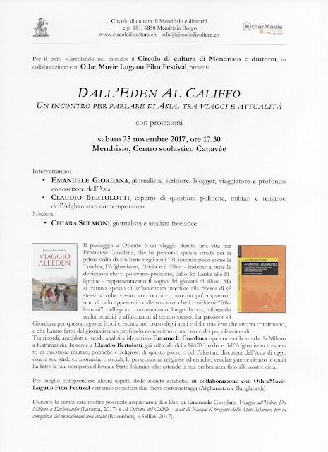 Viaggio all'Eden e Califfo a Mendrisio sabato 25 novembre