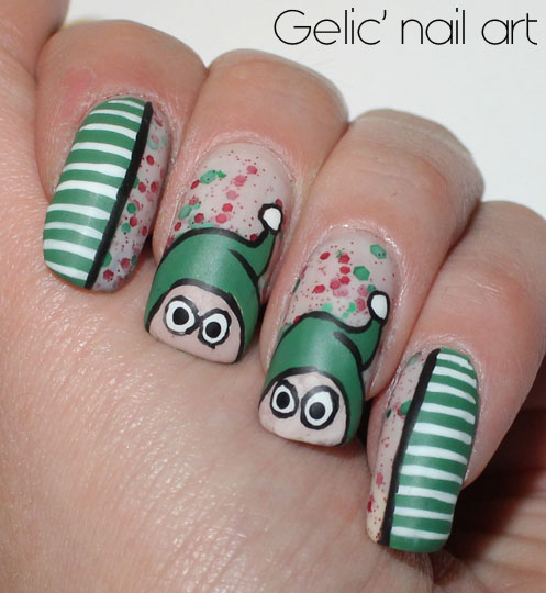 Christmas Nails Elf: Gelic' Nail Art: Elf Nail Art In Green