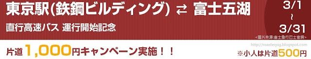 1000日元從東京乘高速巴士去富士五湖