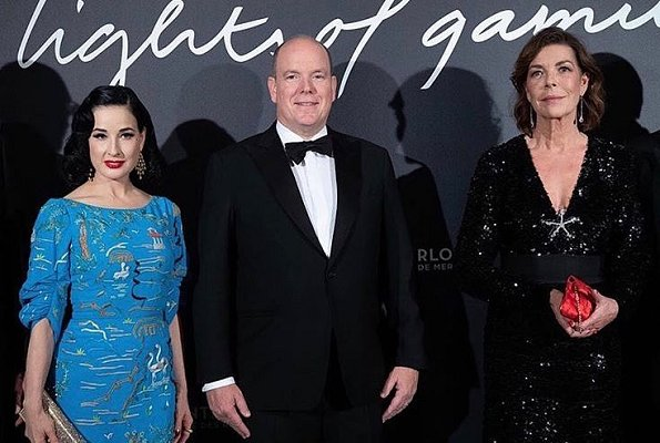 US actress Dita Von Teese is wearing Jenny Packham China blue embroidered gown at Lights of Gaming gala dinner