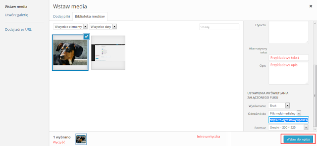 Wordpress - wstawianie obrazka