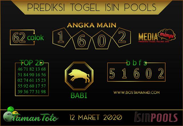 Prediksi Togel ISIN TAMAN TOTO 12 MARET 2020