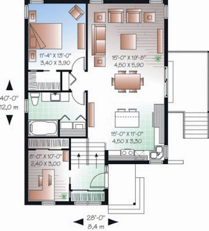 denah rumah minimalis sederhana 7x12m moderen