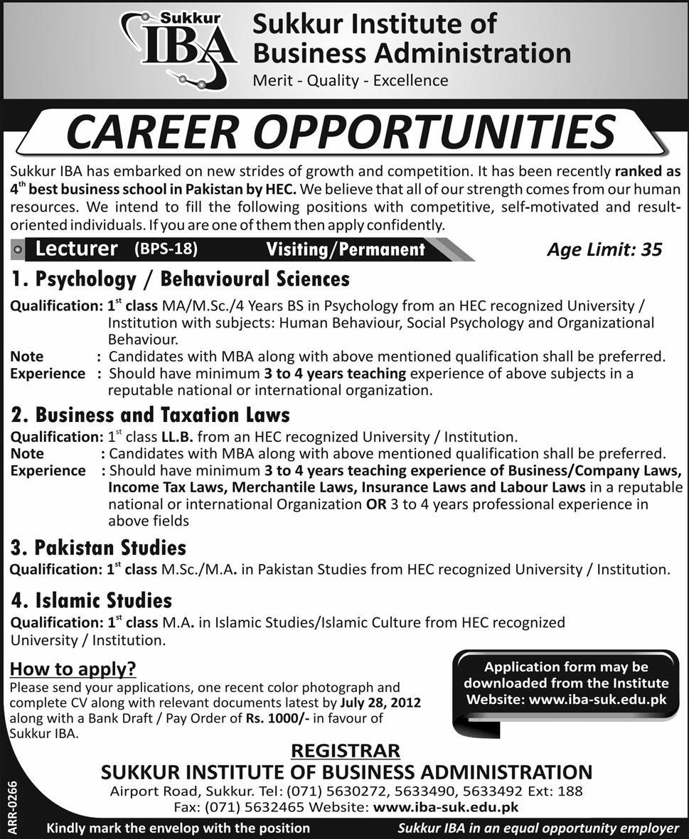 World Jobs Corner Sukkur Institute Of Business Administration Jobs