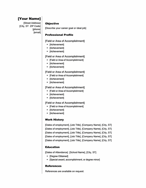 Resume References Template Word 2007   Resume Pdf Download