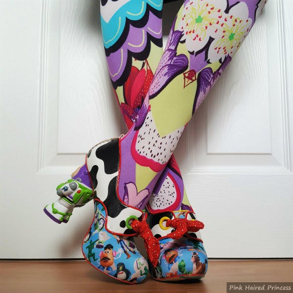 legs wearing kimono print tights with Toy Story Irregular Choice shoes
