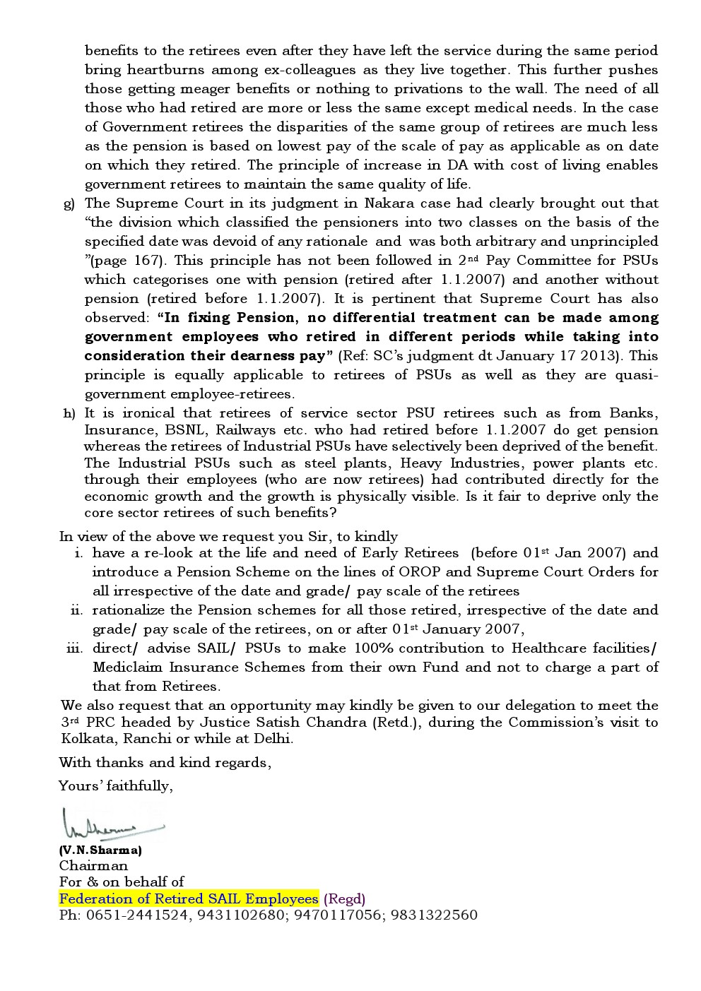SAIL Ex-Employees Association: Letter to 3rd Pay Revision