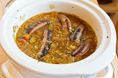 Slow Cooker Lentil Soup Recipe with Turkey Bratwurst, Leeks, and Sherry Vinegar found on KalynsKitchen.com