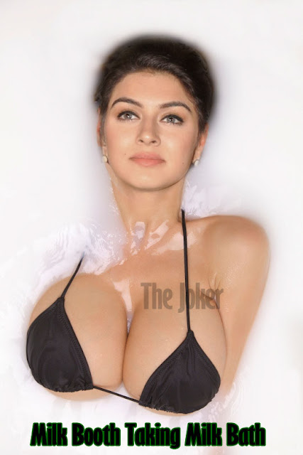 Hansika Motwani milk tank taking milk bath black black covering her nipple