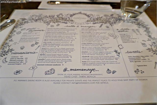 Carta de la Cafetería Maman en Nomad, Nueva York
