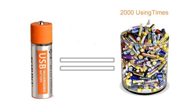 Li-po Battery USB Rechargeable 1 Hour Quick Charging AA 4PCS SORBO 1.5V 1200mAh