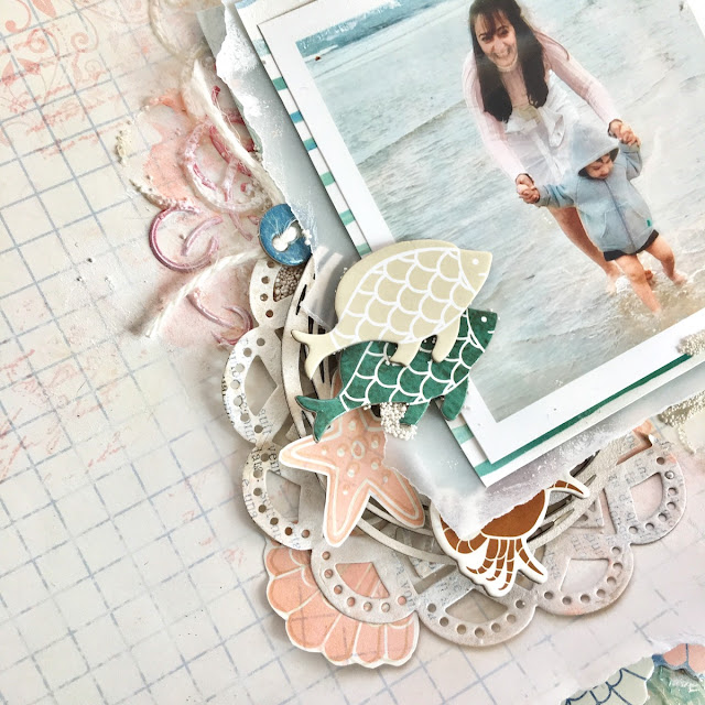Ocean Scrapbook Page by Angela Tombari using BoBunny Down By The Sea Collection
