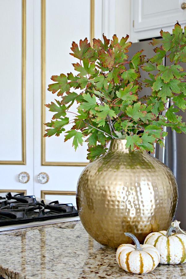 Kitchen pantry, white kitchen, gold brass vase, fall leaves, door trim molding