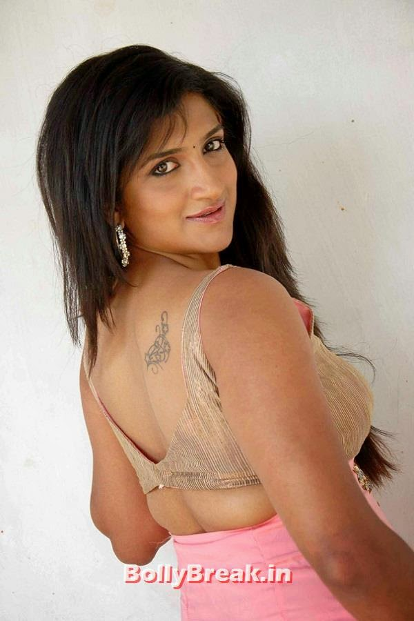 , Actress Rishika Singh Tatto Photos in Backless Blouse Dresses
